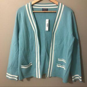 Pendleton womens Tiffany blue sweater white stripe